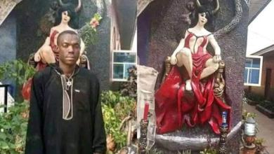 Photo of Abia youths destroy Church of Satan